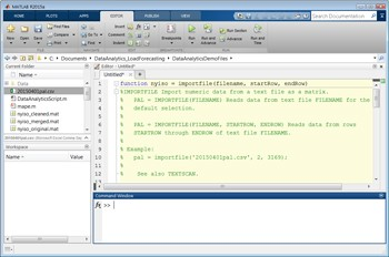 Figure 2. Top: CSV data selected for import. Bottom: An automatically generated MATLAB function for importing the data.